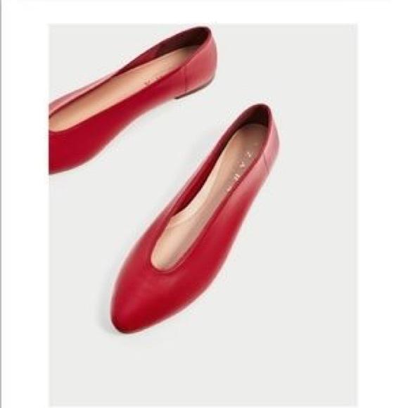 186ced66808c4 Zara TRF Red Leather V Cut Ballerina Glove Flats. M_5c057537c617776f31953129